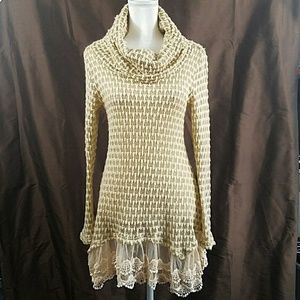 ALTAR'D STATE lace trim cowl neck tunic sweater